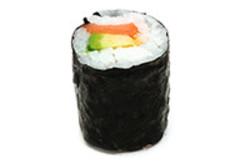 Maki Rolle mit Avocado und Lachs