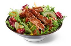Spiesse auf Salat 3 Yakitori-Spieße auf saisonaler Salatmischung