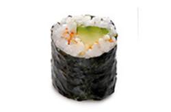 Maki Rolle mit Avocado, Chilipulver und Limette