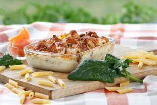 Nudelgratin Lachs-Spinat