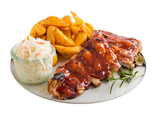 Spare Ribs, Country Potatoes  & Coleslaw