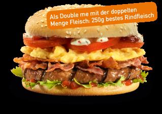 Bacon Eggs Burger Double me