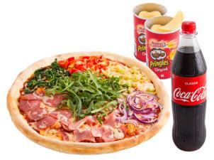 Fussball Jumbo Pizza Menü mit Softdrink