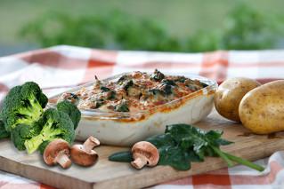 Kartoffelgratin Champignons-Spinat-Broccoli