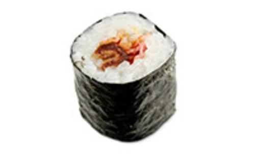 Maki Rolle mit Dattel und gebratenem Speck