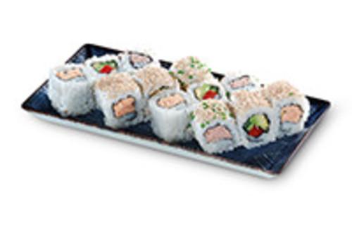 Vier verschiedene Inside Out Rolls Sushi Box