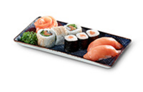 Salmon Dream Mix mit Sashimi Nigiri Maki und Inside Out Rolls