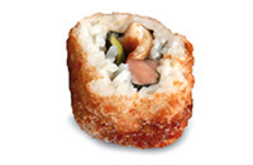Frittierte Inside Out Rolle mit gegrilltem Aal, Avocado, Unagi-Spezialsauce und Frischkäse