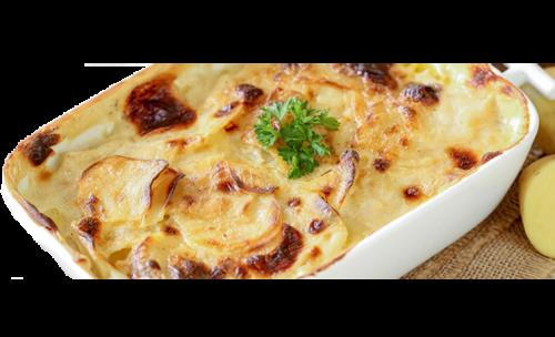 Kartoffelgratin mit Zwiebeln und Mais<sup>F,St</sup>