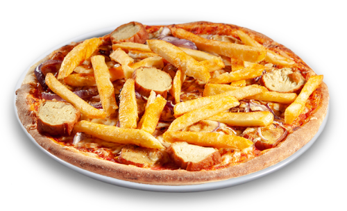 Pizza Currywurst & Pommes Solo 25cm <sup>F</sup>