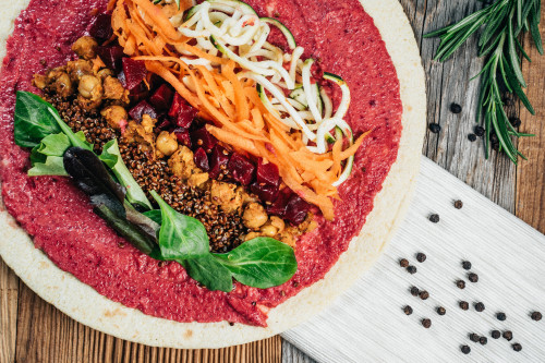 Vegan Beetroot Hummus Wrap