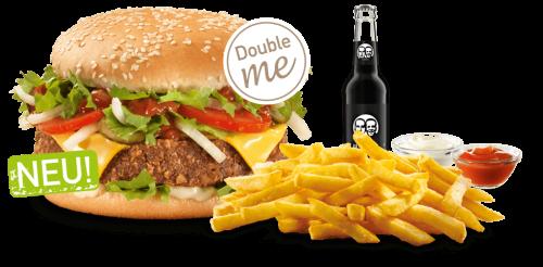 Unser veganes Cheese Burger-Menü als Double me