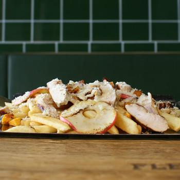 Fritten mit Apfel, Kürbis & Huhn