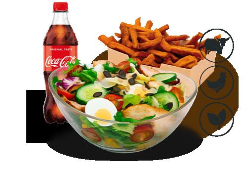 Cool Caesar Salat mit Süßkartoffel Pommes