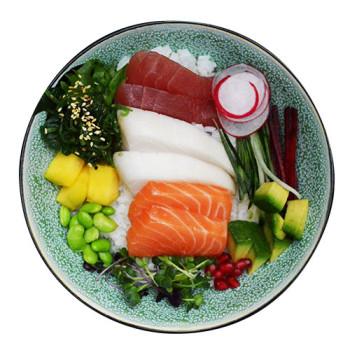Poke Bowl Sashimi (mit Lachs, Butterfisch und Tuna)