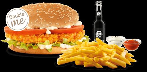 Unser veganes Crunchy Burger-Menü als Double me