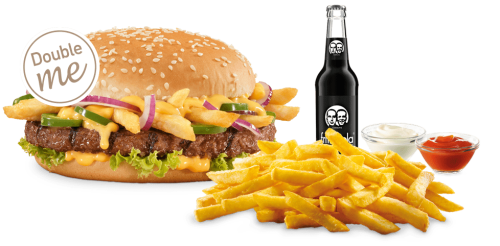 Unser Chili Cheese Fries Burger-Menü als Double me