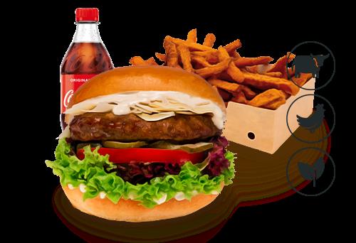 Caesars Burger mit Süßkartoffel Pommes