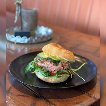 4. Pulled Salmon Burger