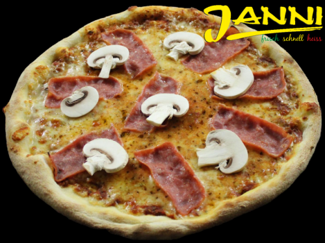 7h. Pizza Prosciutto e Funghi 26cm (Hinterschinken)