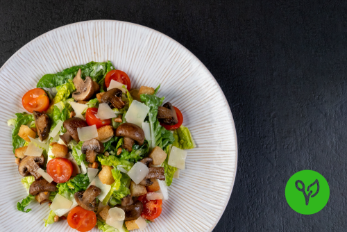 Caesar Salad mit gebratenen Kräuter-Egerlingen (vegetarisch)
