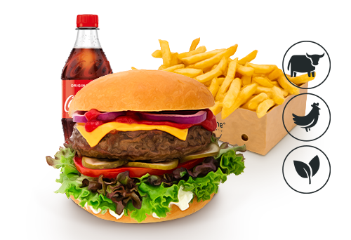 Cheese Burger mit Classic Pommes