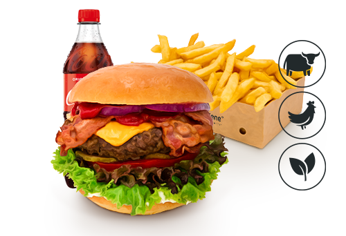 Bacon-Cheese Burger mit Classic Pommes