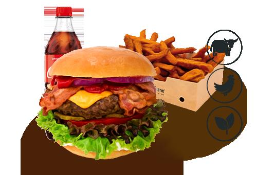 Bacon-Cheese Burger mit Süßkartoffel Pommes