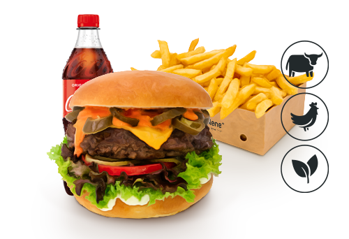 Chili Cheese Burger mit Classic Pommes