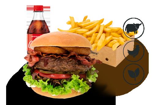 Bacon-BBQ Burger mit Classic Pommes