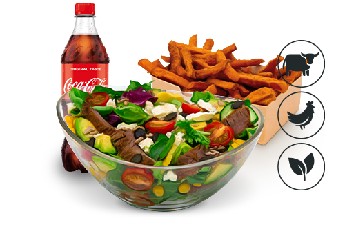 Better Beef Salat mit Süßkartoffel Pommes