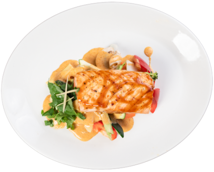 Gegrilltes Lachsfilet Red-Curry