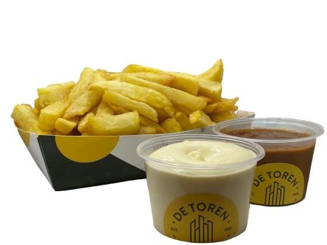 Grote friet sate mayonaise