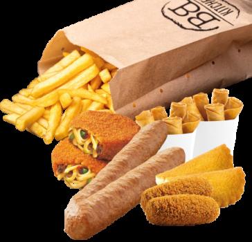 Familiepakket frites met 6 snacks