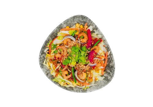 Salat-Bowl mit Shrimps