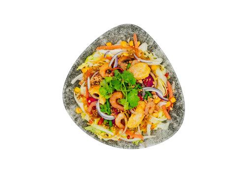 Salat-Bowl mit Huhn & Shrimps