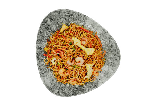 Gebratene Nudeln mit Huhn & Shrimps