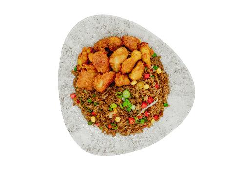 Gebratener Reis mit gebackenem Huhn