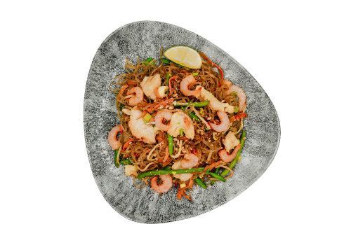 Glasnudeln mit Huhn & Shrimps