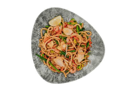 Udon mit Huhn & Shrimps