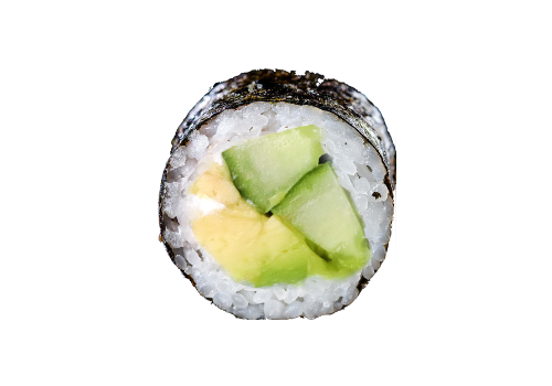 Avocado Maki mit Gurke und Frischkäse (50b)