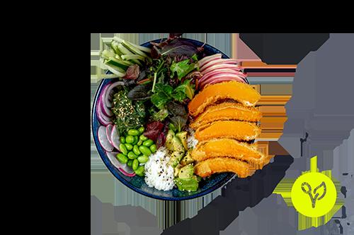 Pokebowl mit paniertem Kürbis (vegan)