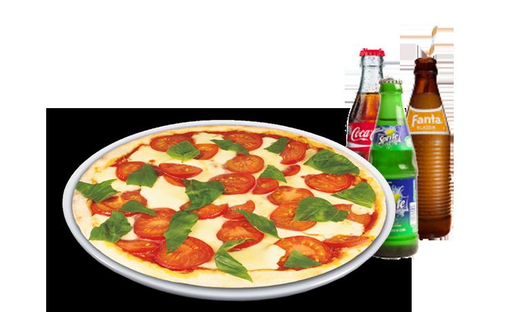 Pizza Mozzarella Solo + Softdrink<sup>F</sup>