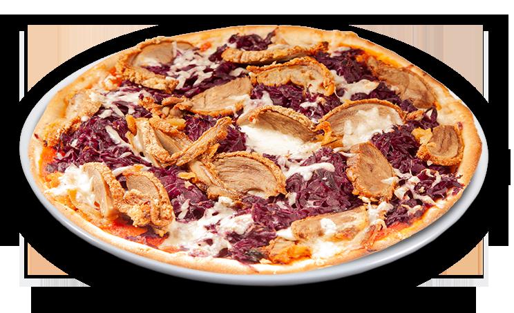 Pizza Ente & Rotkohl