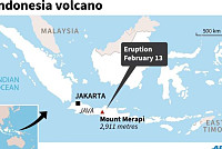 Erupting Indonesian volcano spews...