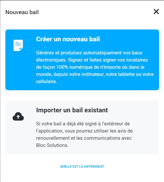 Nouveau bail électronique vs bail existant