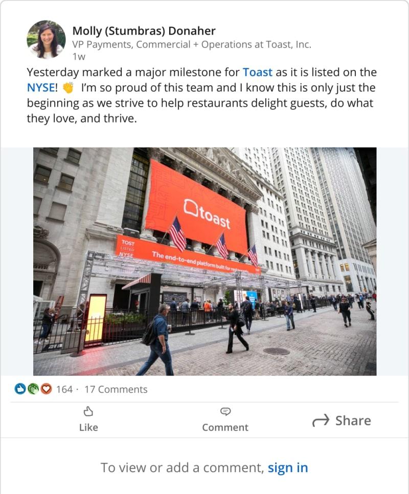 Generate a screenshot of a LinkedInPost