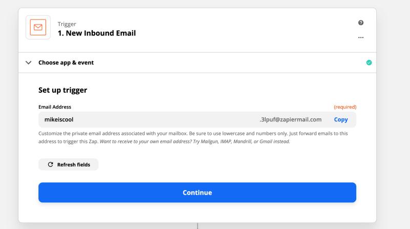 Setup the email trigger