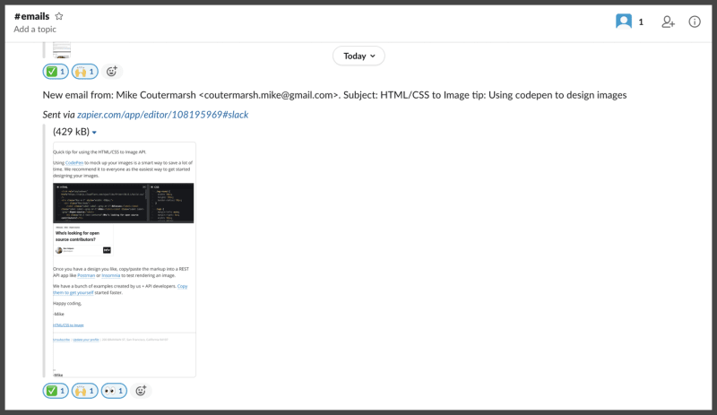 Share a screenshot of an email in slack