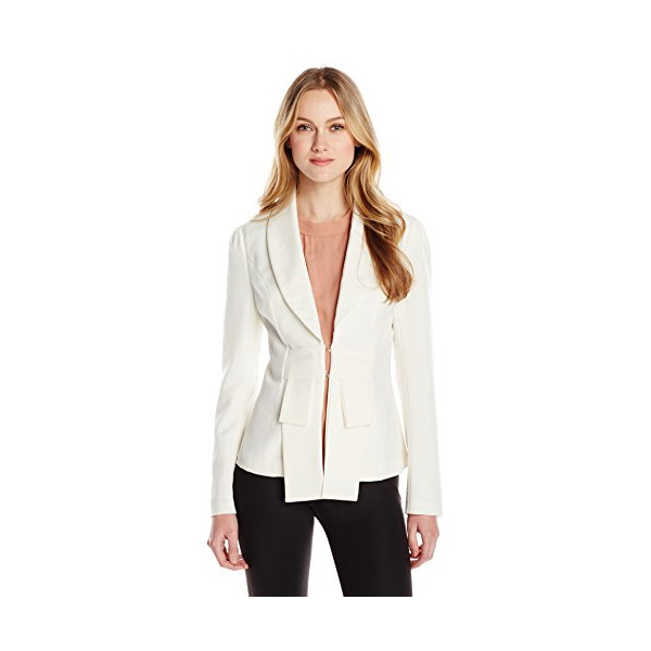 Allegra K Women's Shawl Collar Long Sleeve Hook Closure Blazer Jacket, White, Medium